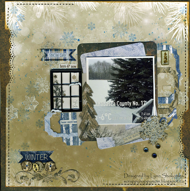 Snow Day by Lynn Shokoples for BoBunny featuring the Sleigh Ride Collection and Snowflake Lasercut Chipboard