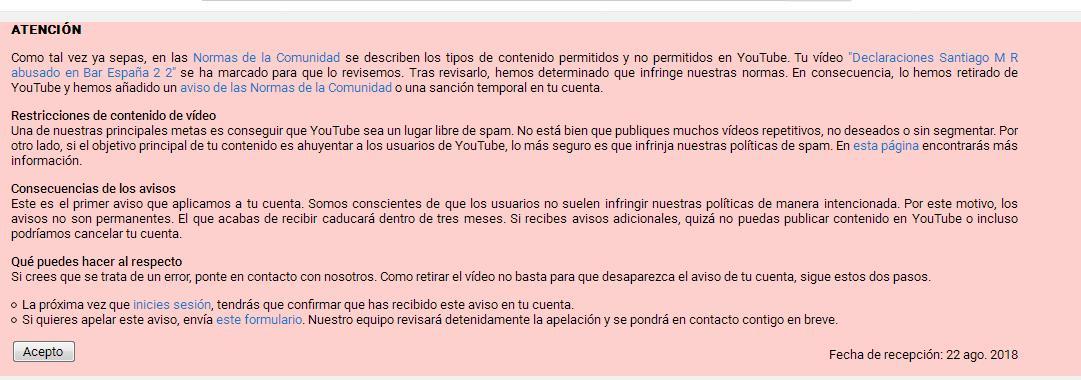 #casoBarEspaña santiago MR