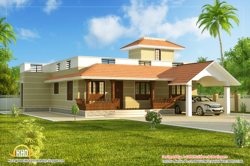 Single story Kerala model house with car porch 1395 Sq.Ft. (130 Sq.M  title=