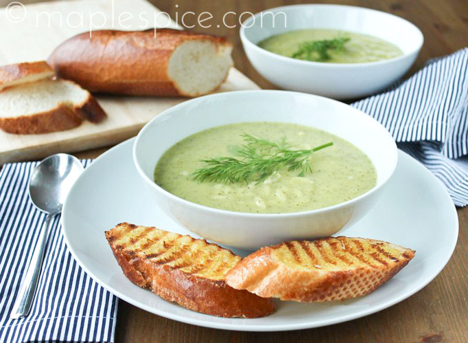 Creamy Zucchini, Lemon and Dill Soup with Orzo. Vegan.