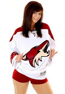 hot chicks in hockey jerseys phoenix coyotes