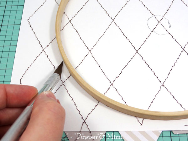 Trim excess paper from embroidery hoop | popperandmimi.com