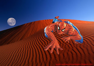 Spiderman desktop Wallpaper Climbing in Red Moon Desert Desktop wallpaper