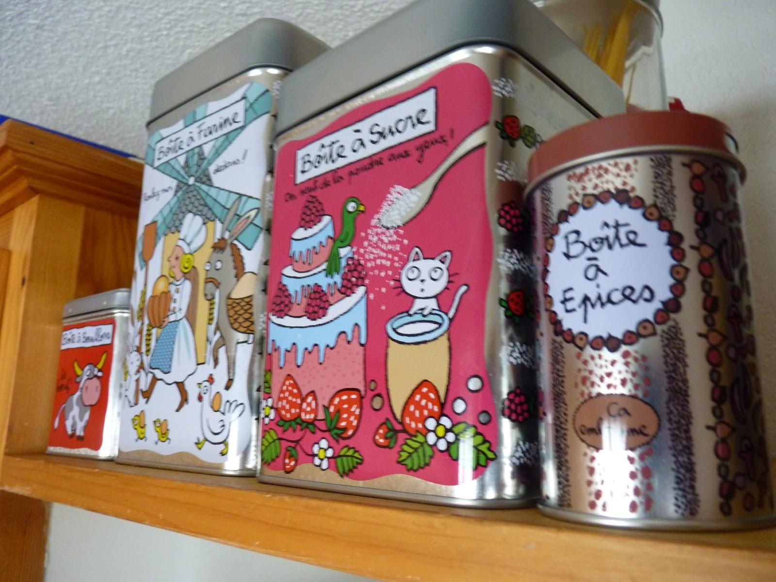 boîtes, derrière la porte, derière la porte, boite a farine, boite a sucre, boite à épices, boite à bouillons cube, marque parisienne, objets design