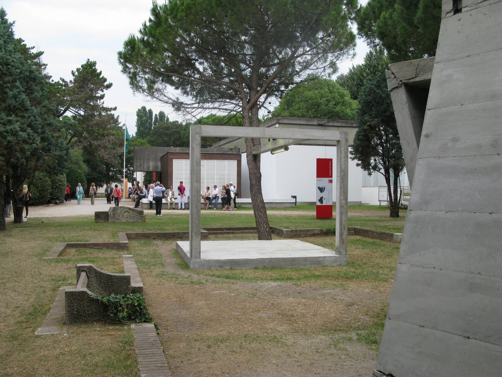 Oscar Tuazon's para-pavilion in the Giardini, with works by Asier Mendizabal
