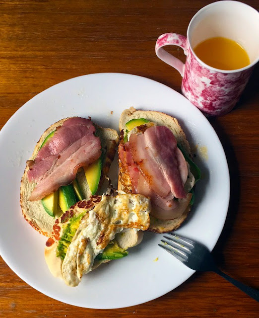 Student Breakfast Tiger toast with Avocado, Egg, and Bacon