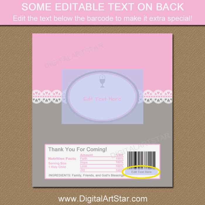 Editable First Communion candy bar wrappers.  You can even edit the text below the barcode.