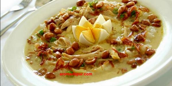 Resep Bubur Ayam Kuah Kuning, kuning, cara membuat masakan enak,resep bubur ayam, resep membuat bubur ayam aromadapurdotcom