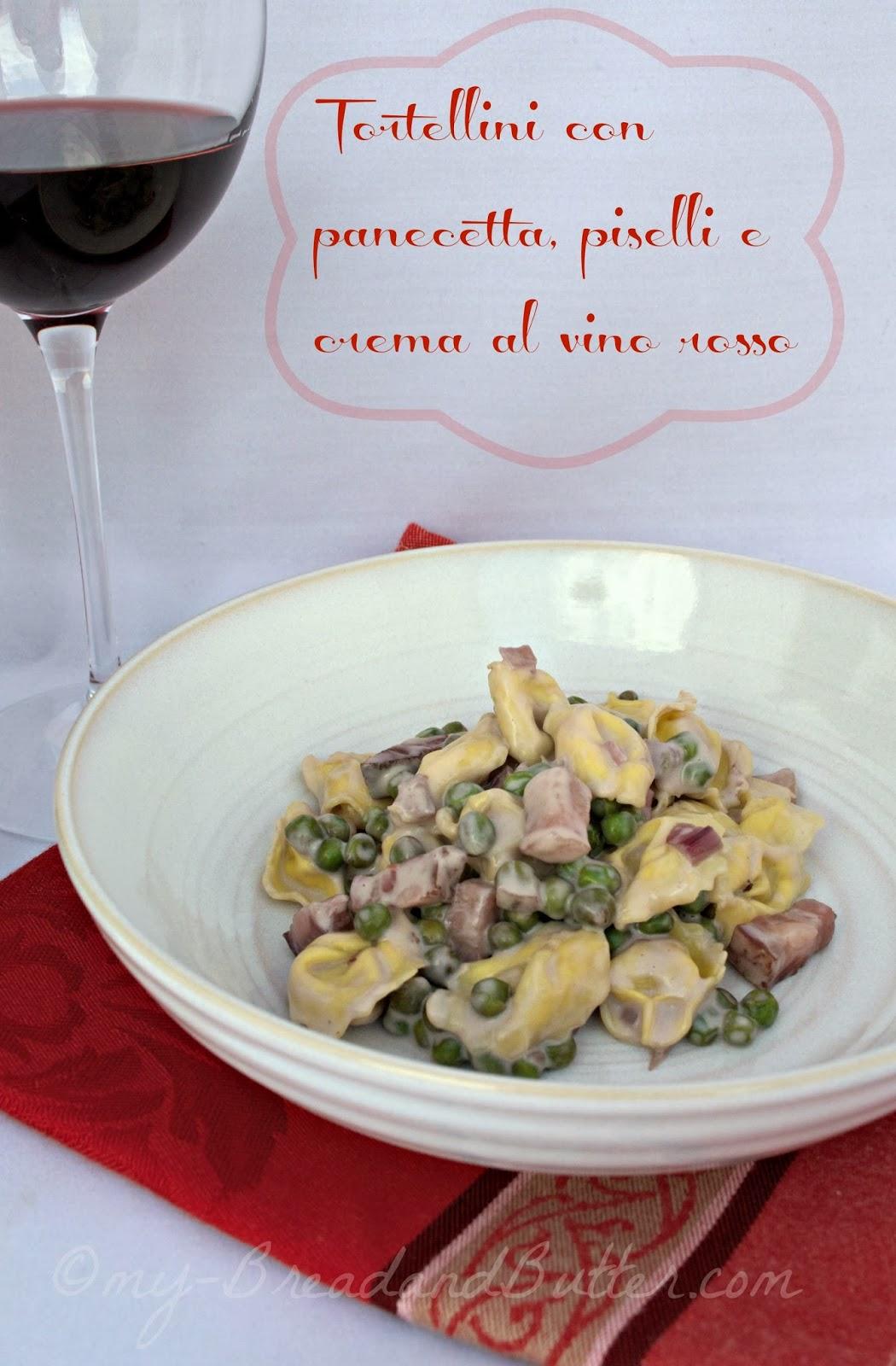 pasta con pancetta piselli e vino rosso