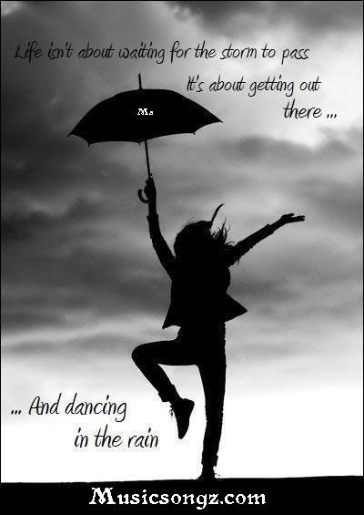 girl dancing with umbrella rainy quotation wallpapers