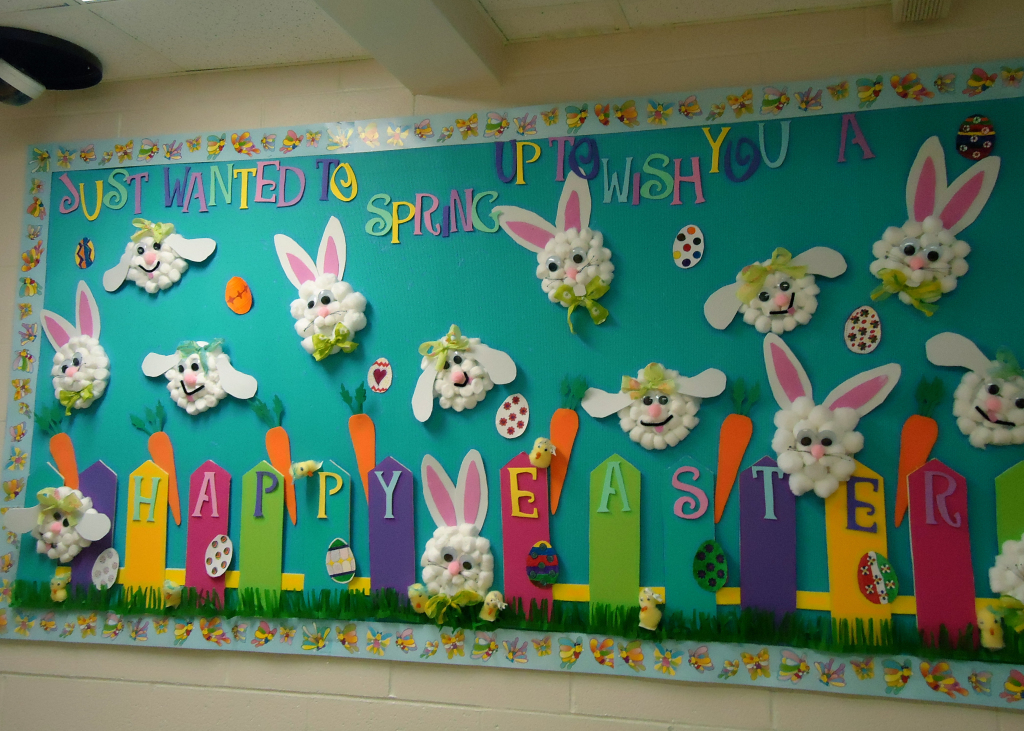 Show and tell tuesday spring bulletin boards sunny for Art and craft for school decoration