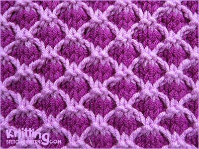 Color Knitting Patterns : Two Color Lattice Knitting Stitch Patterns