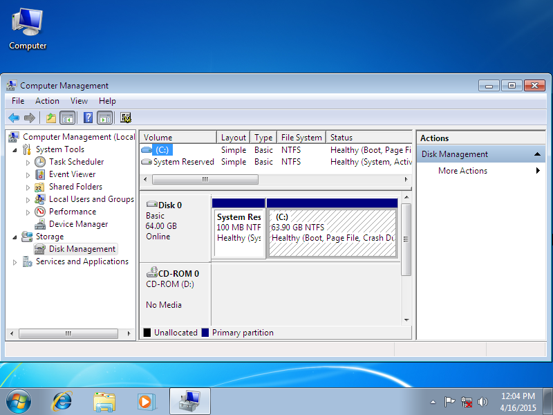 Windows OS installed on a single partition - Disk Management screenshot