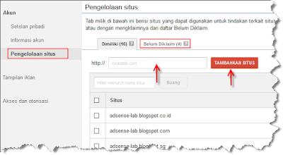 cara menambahkan claim atau otorisasi situs atau website adsense