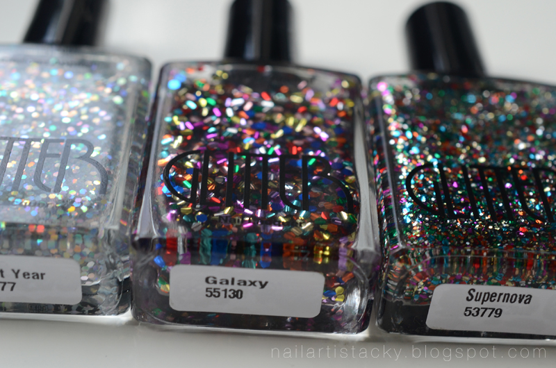 American Apparel Glitter Polishes - Light Year, Galaxy, Supernova