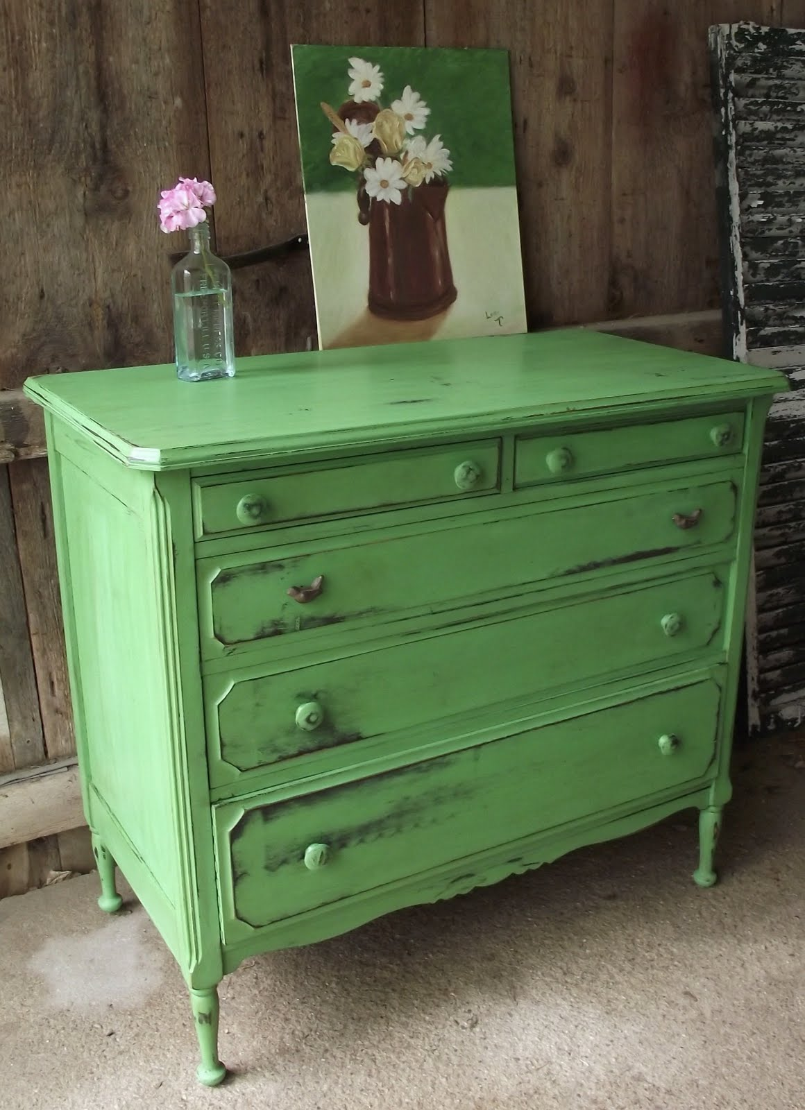 Give your furniture an antiqued or distressed look ladulcelavie - Filename Green Dresser 003 Good Jpg