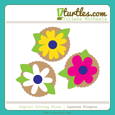 Juliana Michaels Layered Flowers Digital Cutting File