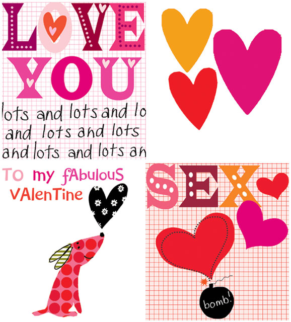 love you lots and lots three hearts dog with heart to my fabulous valentine sex bomb greeting cards designers Liz and Pip