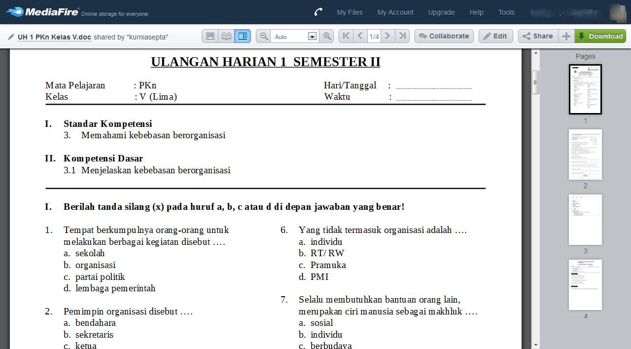 Download Kumpulan Soal Pkn Kelas 5 Semester 2