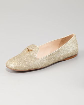 Prada Glitter Logo smoking slipper