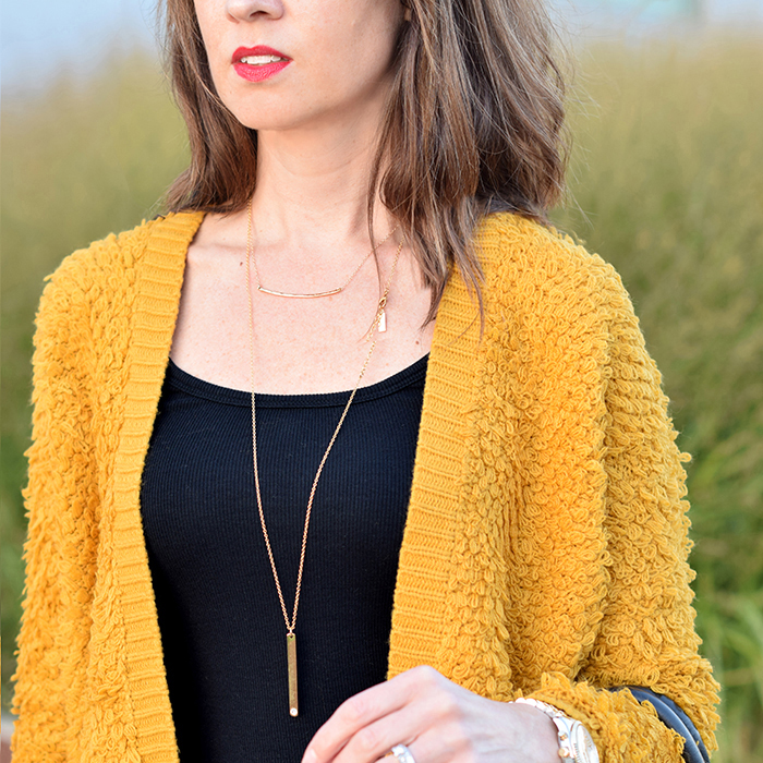 forever 21, baublebar necklace, mustard yellow, fall colors