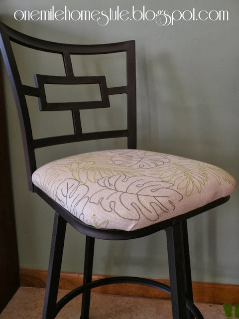 Bar stool with white botanical print fabric