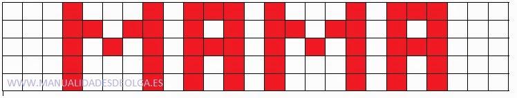 plantilla patrón para hacer pulsera con nombre con gomitas. MAMA
