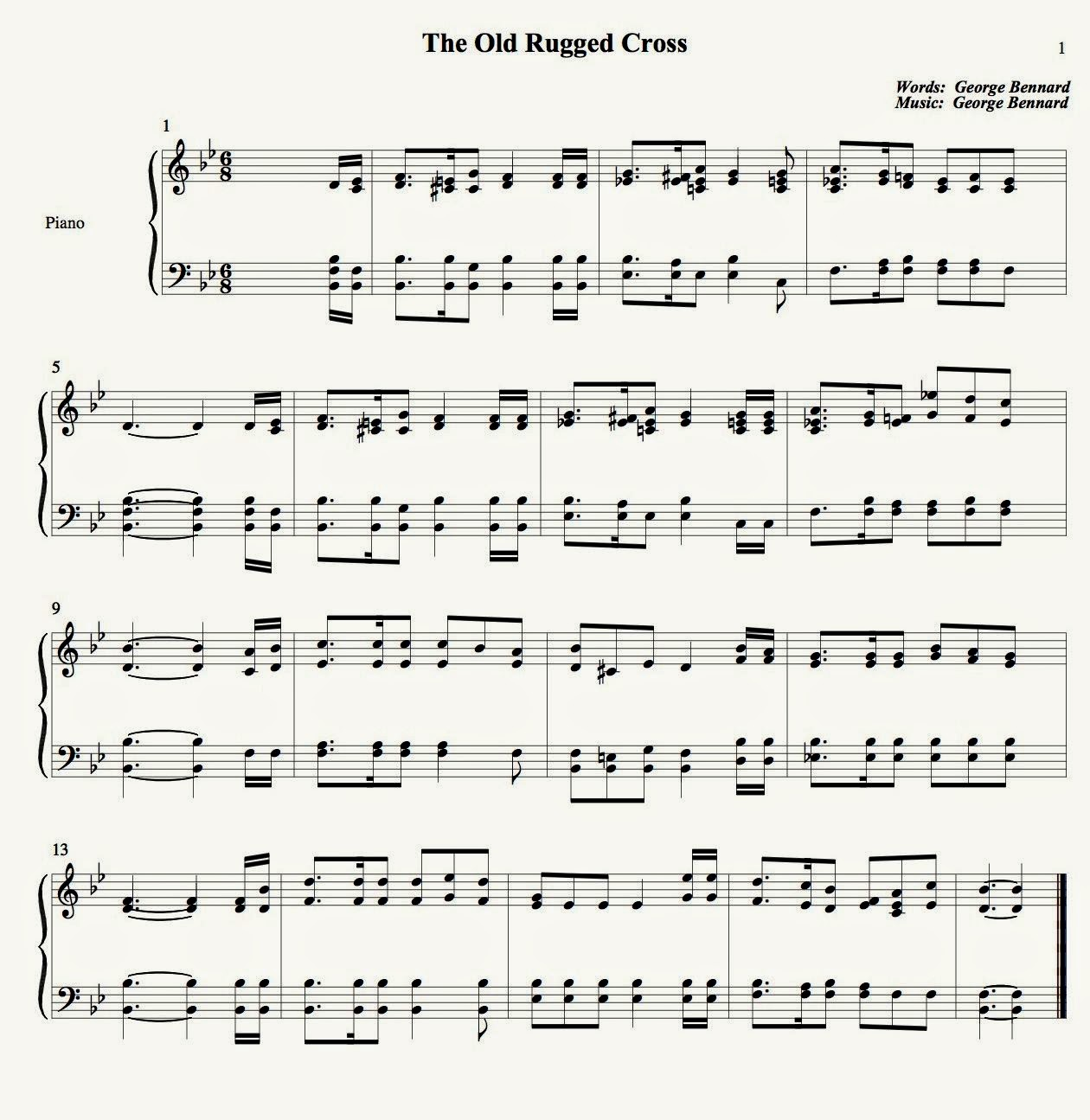 The Old Rugged Cross Flute Sheet