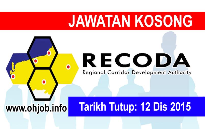 Jawatan Kerja Kosong Lembaga Pembangunan Koridor Wilayah (RECODA) logo www.ohjob.info disember 2015
