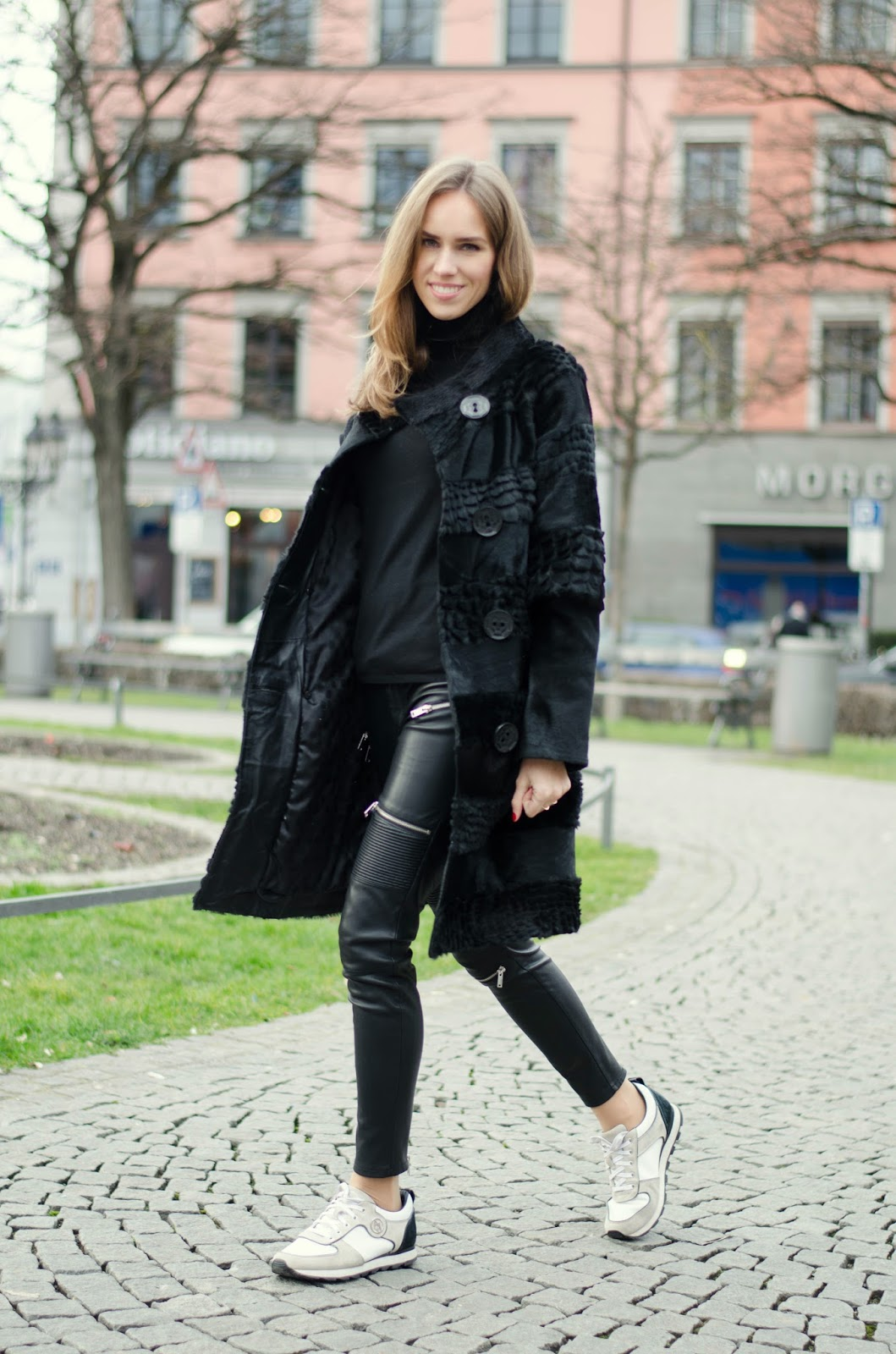 kristjaana mere textured black fur coat white sneakers turtleneck casual minimal winter outfit
