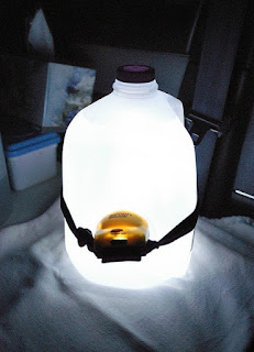 Improvise a tent lamp - plastic bottle and head lamp