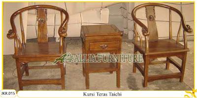 Kursi Teras Rumah & Meja Ukiran Taichi kayu jati