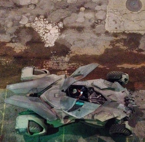 Vista aerea del Batmóvil en el rodaje Batman V Superman: Dawn of justice