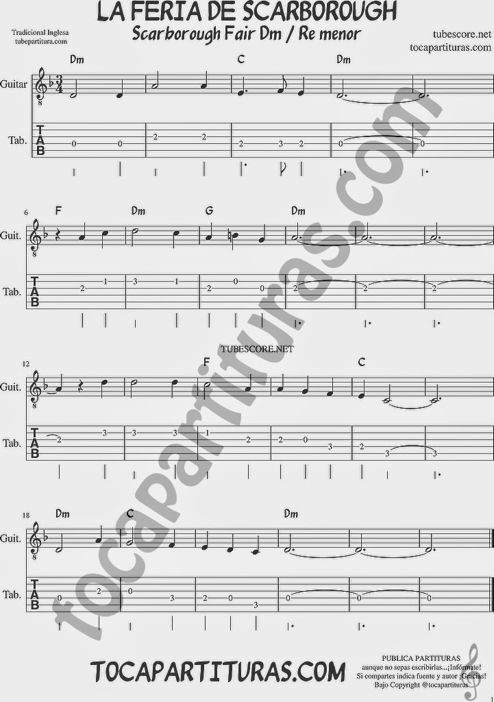 La Feria de Scarborough Tablatura y Partituras del Punteo de Guitarra Tabs sheet music for easy guitar Scarboroug Fair Tablature