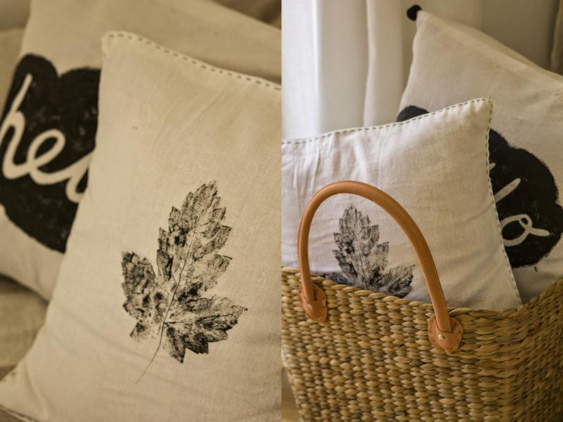 poduszki DIY transfer liść i chmurka