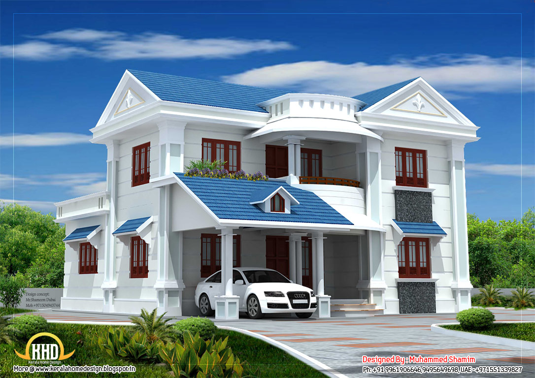 Beautiful house elevation 2317sq ft kerala home for Exterior 3d design