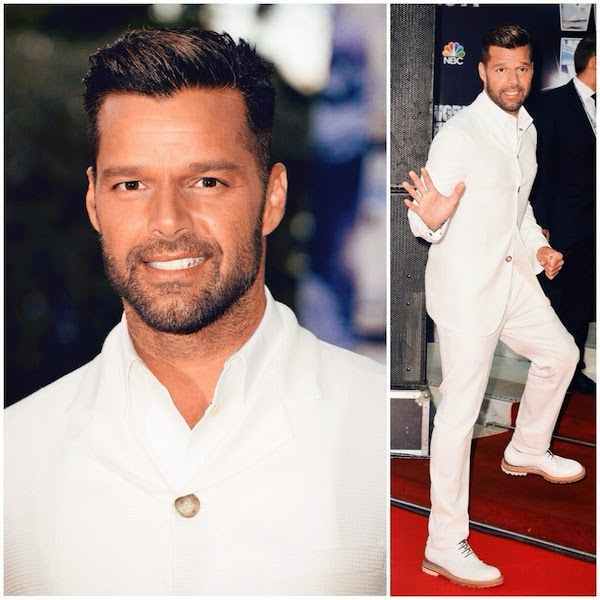Ricky Martin in Giorgio Armani white suit from Spring Summer 2014 - 2014 World Music Awards