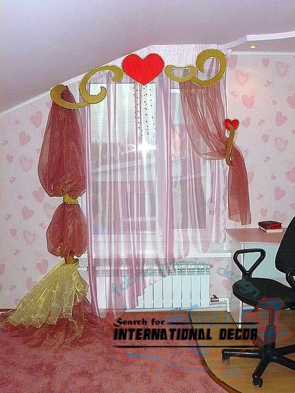 fashionable girls curtains, pink curtains