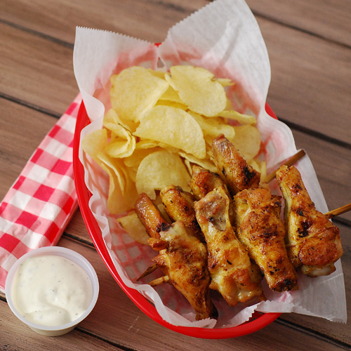 Hot chick on a stick, Alton Brown wings, tailgating, pub food,