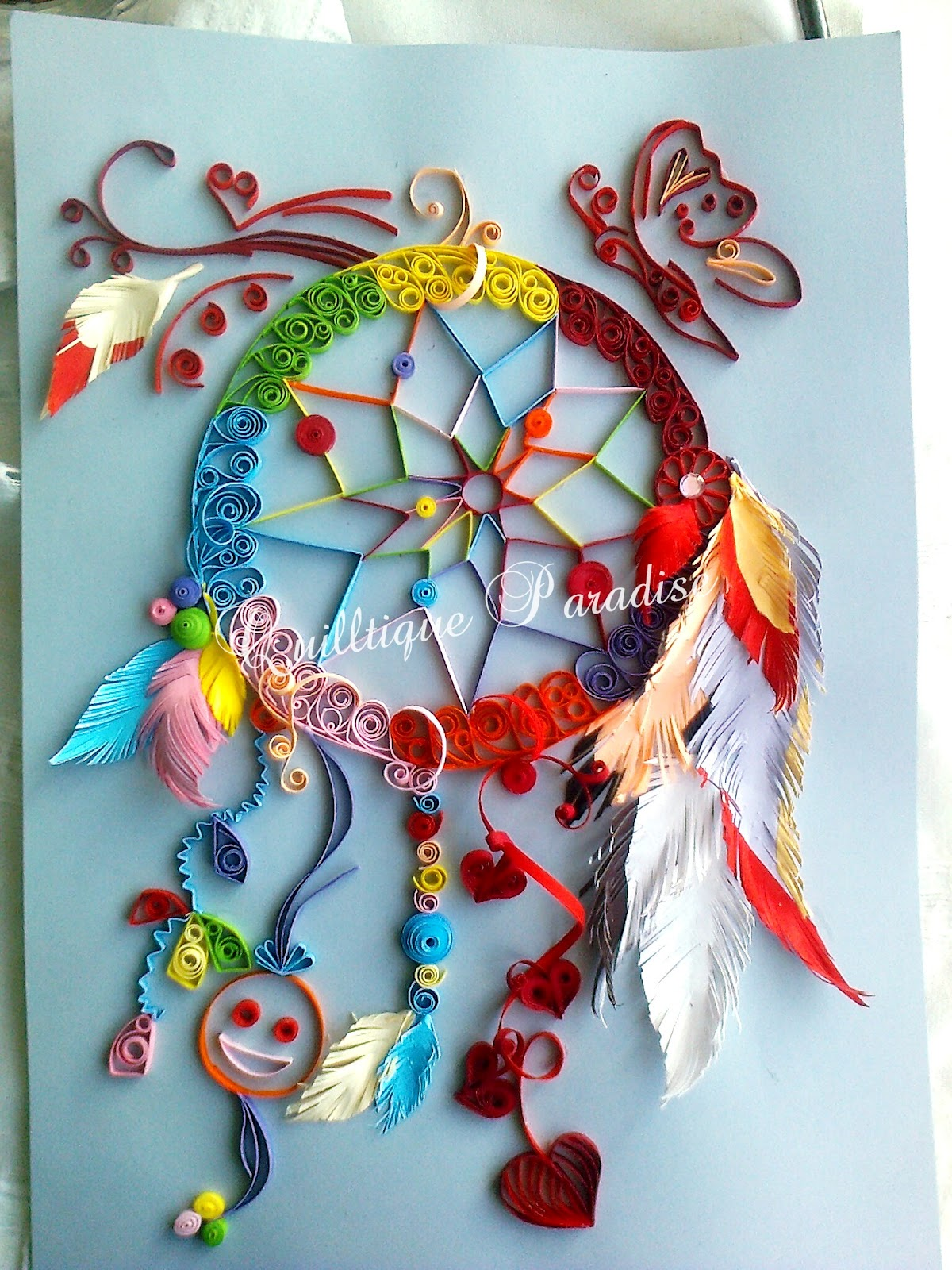 Quilled dreamcatcher quilltique paradise for Quilling paper art