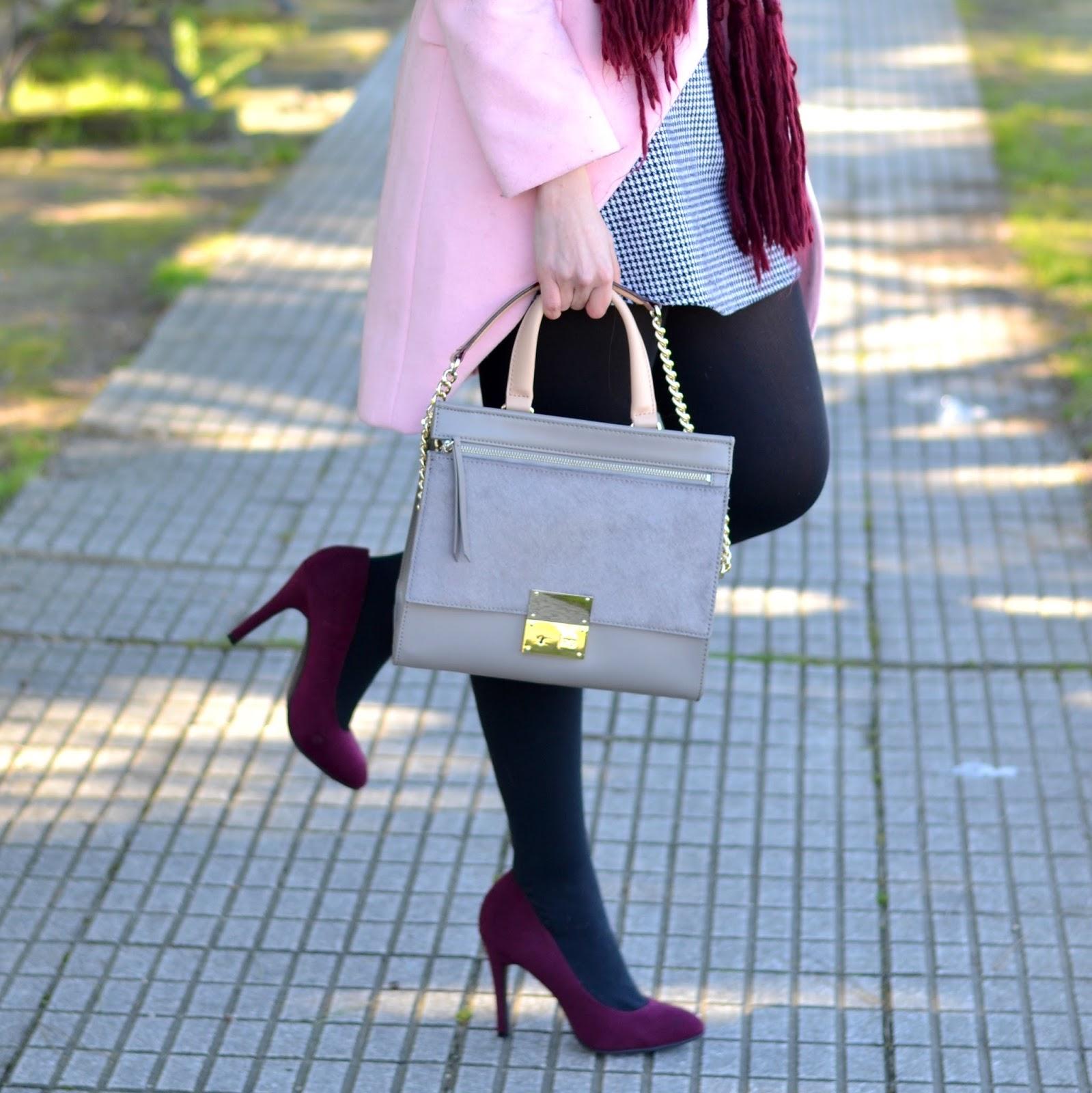 grey, pink, burgundy, purificacion garcía bolso