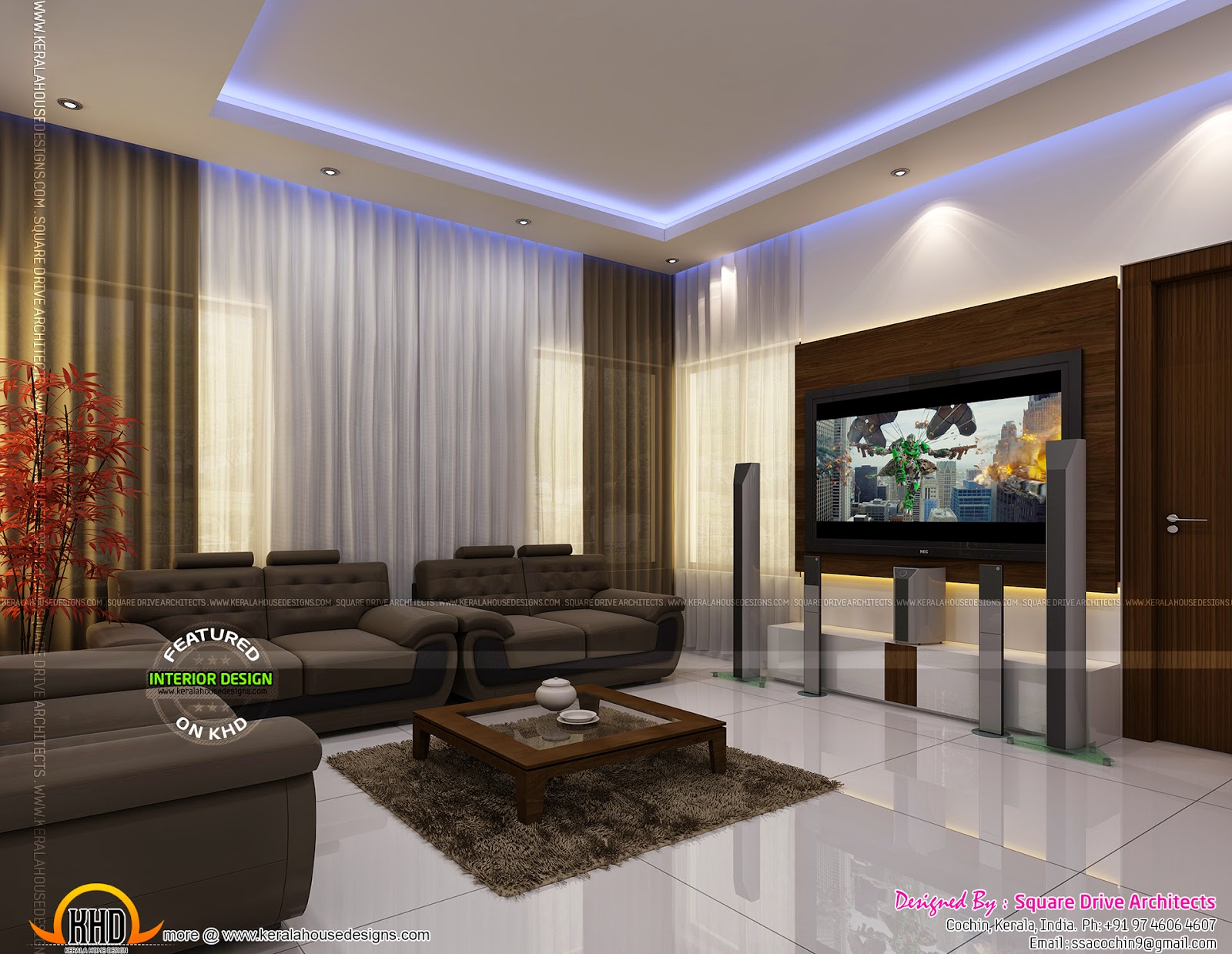 Luxury interior designs in kerala keralahousedesigns for Living room interior in kerala