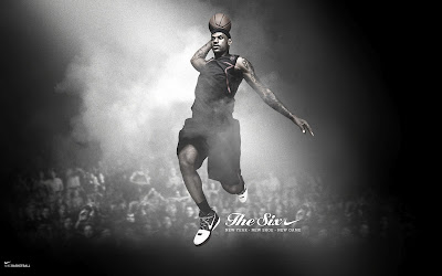 Flying Lebron James Nike Basketball Ads Black White Photo HD Desktop Wallpaper