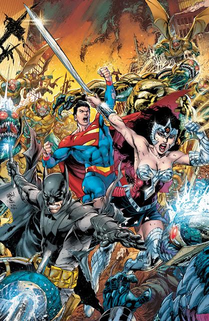 Superman Mulher Maravilha e Batman no meio de um combate contra um muitos aliens