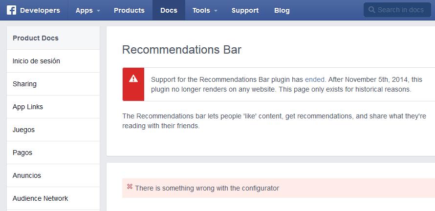 barra de recomendaciones de facebook dejo de funcionar