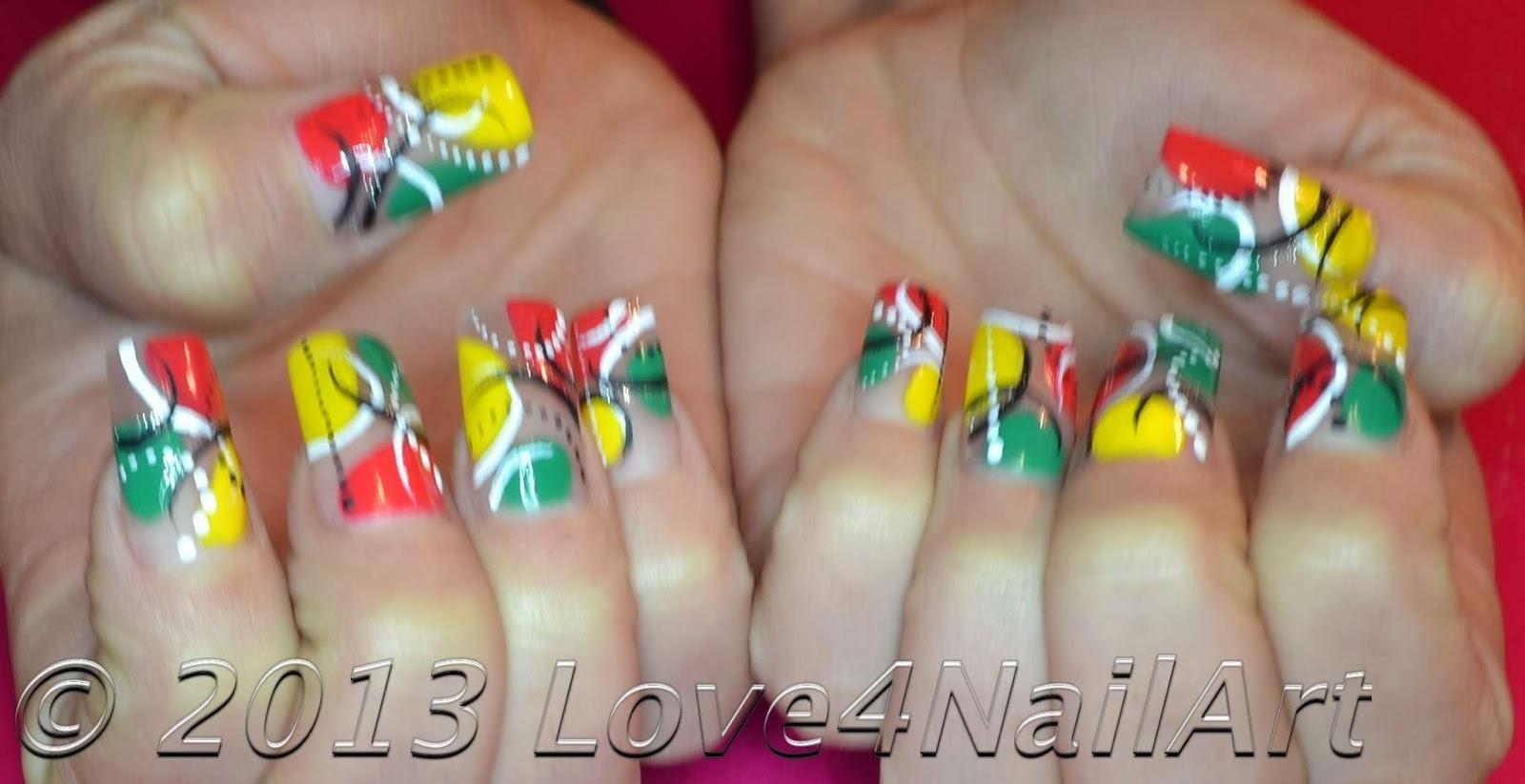 Love4nailart Colorful Abstract Nail Art For Long Acrylic Nails