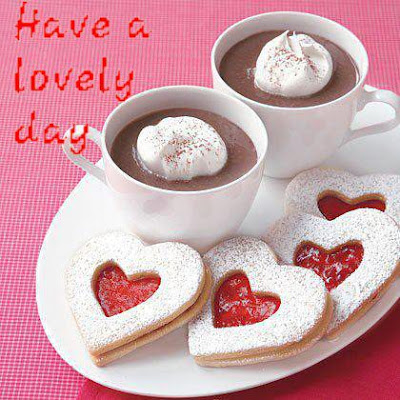 Have a Lovely and Nice day withSweet heart Biscuits and Creamy Coffee