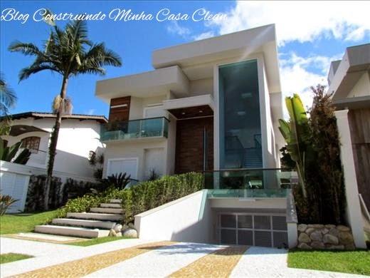 Construindo minha casa clean fachadas de casas em terrenos em aclive e estreitos - Entrada de casas modernas ...