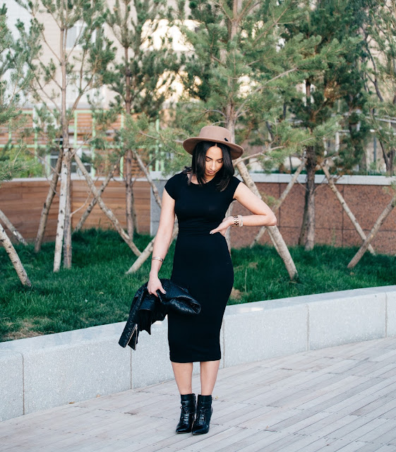 black midi dress ankle boots the bobbed