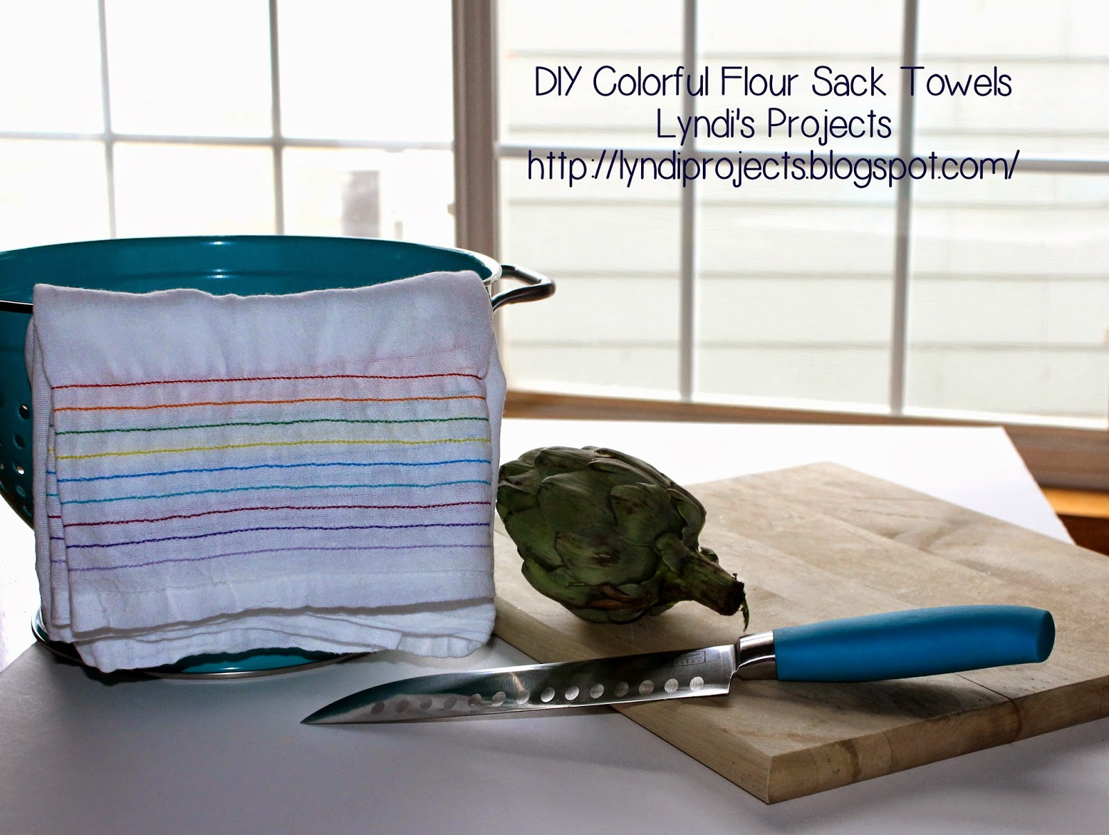 how to sew flour sack towels, colorful kitchen decor, rainbow